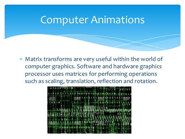 Matrices Used In Computer Graphics Essay Sample
