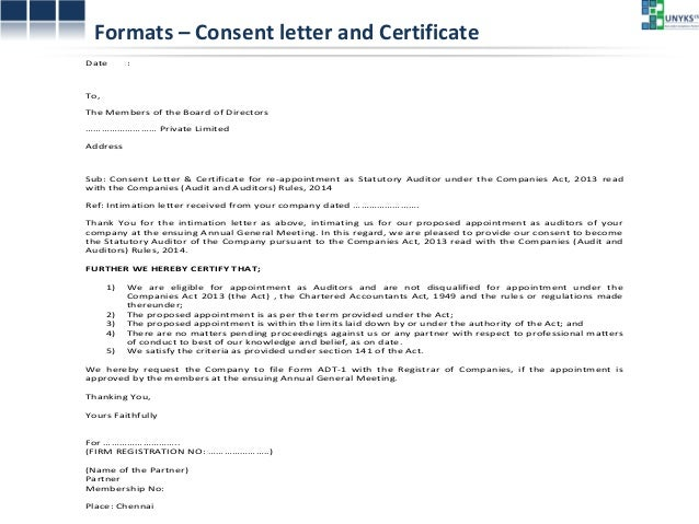 Formats U2013 Consent Letter ...  Intimation Letter Format