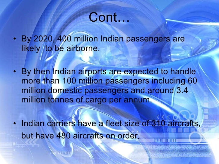 <ul><li>By 2020, 400 million Indian passengers are likely  to be airborne. </li></ul><ul><li>By then Indian airports are e...