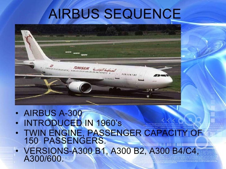 AIRBUS SEQUENCE <ul><li>AIRBUS A-300 </li></ul><ul><li>INTRODUCED IN 1960's </li></ul><ul><li>TWIN ENGINE, PASSENGER CAPAC...