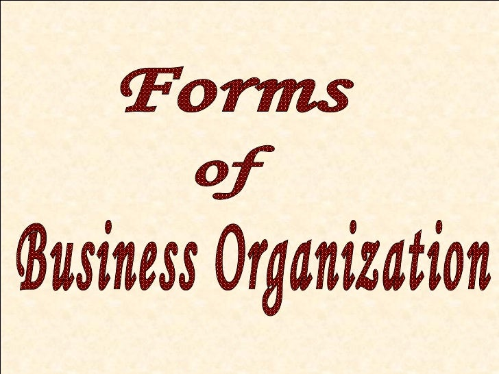 Forms Business Organization of