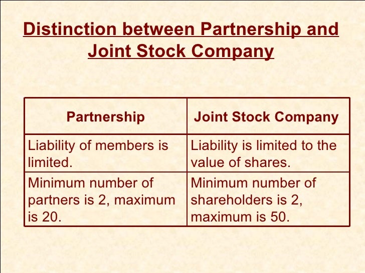 Difference between partner and joint stock