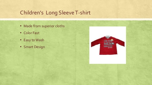 Children's Long Sleeve T-shirt ▪ Made from superior cloths  ▪ Color Fast ▪ Easy to Wash ▪ Smart Design