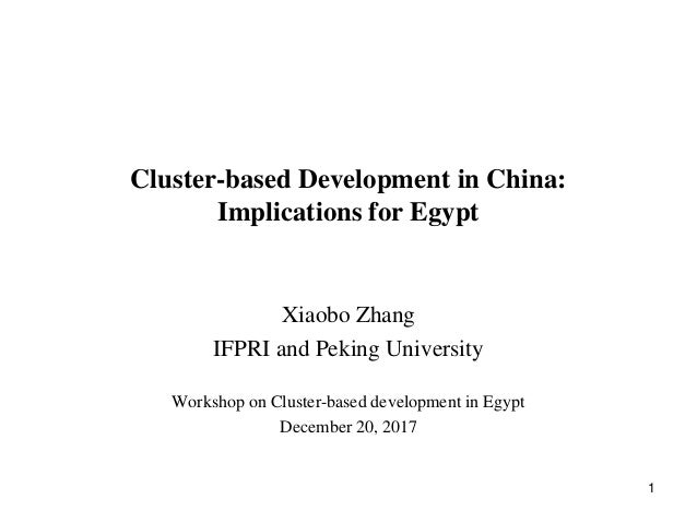 Cluster-based Development in China: Implications for Egypt Xiaobo Zhang IFPRI and Peking University Workshop on Cluster-ba...