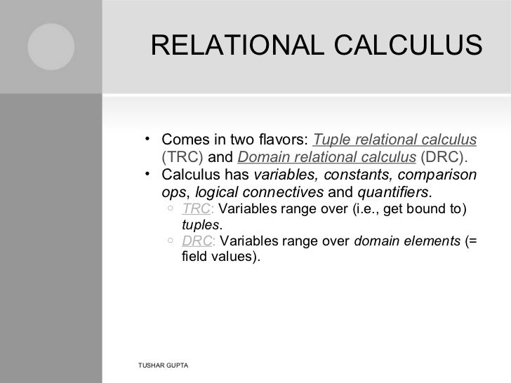 Tuple relational calculus in dbms with examples pdf