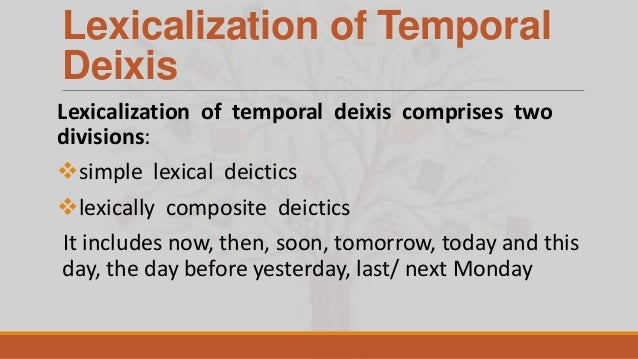 thesis on deixis An essay or paper on understanding deictic espression deixis deals with the words and expressions whose reference relies entirely on the circumstances of the utterance for that reason these special expressions and their meaning in discourse can only be understood in light of these circumstances.