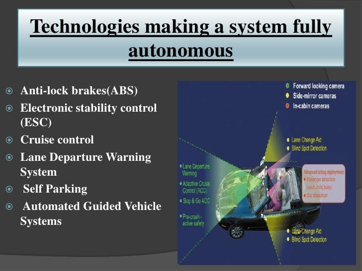 Technologies making a system fully               autonomous Anti-lock brakes(ABS) Electronic stability control  (ESC) C...