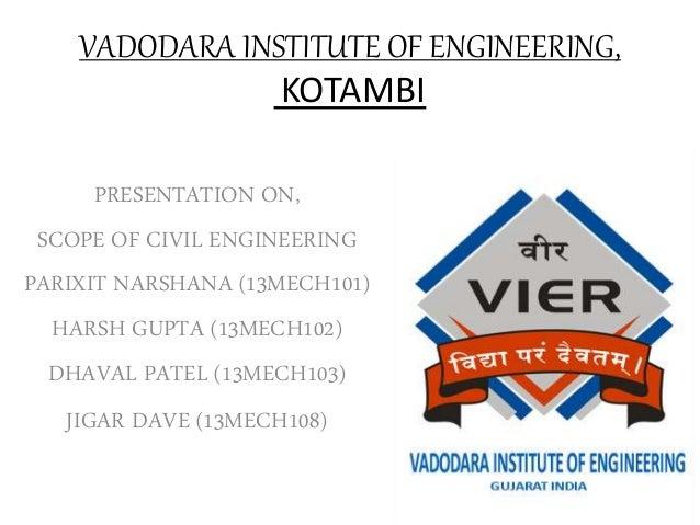 VADODARA INSTITUTE OF ENGINEERING, KOTAMBI PRESENTATION ON, SCOPE OF CIVIL ENGINEERING PARIXIT NARSHANA (13MECH101) HARSH ...