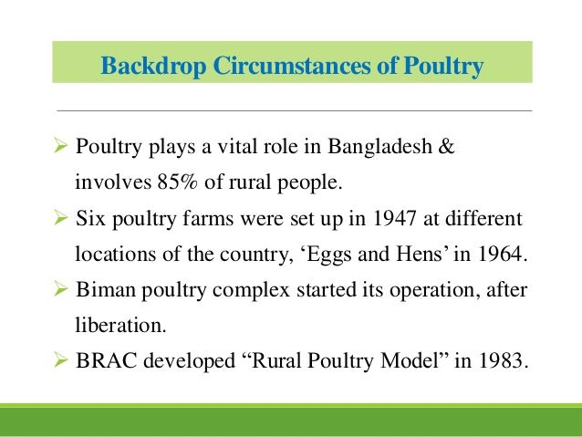 Backdrop Circumstances of Poultry  Poultry plays a vital role in Bangladesh & involves 85% of rural people.  Six poultry...