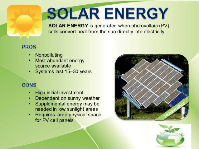 Energy sources quality characteristics and for Solar energy projects for kids