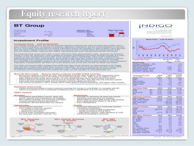 equity research report sample Sample reports and analyses conducted at white capers our team consist of mbas, chartered accountants, and cfa graduates who possess years of valuable experience in financial modeling and equity research.