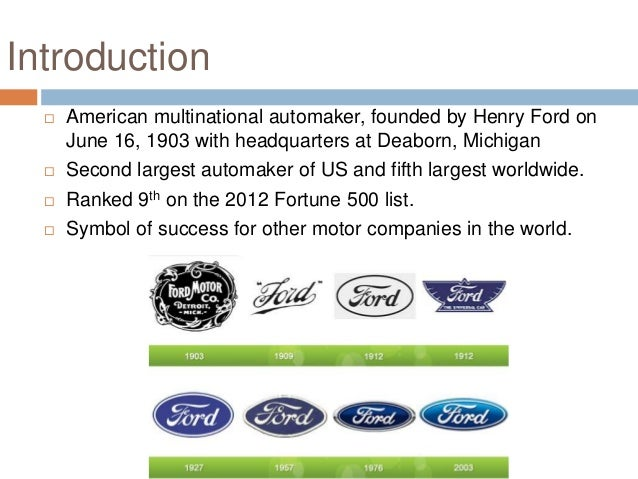 an introduction to the history of the ford motor company A look at selected milestones from the company's history accessibility links  a timeline of ford motor company since the company's founding in 1903,.