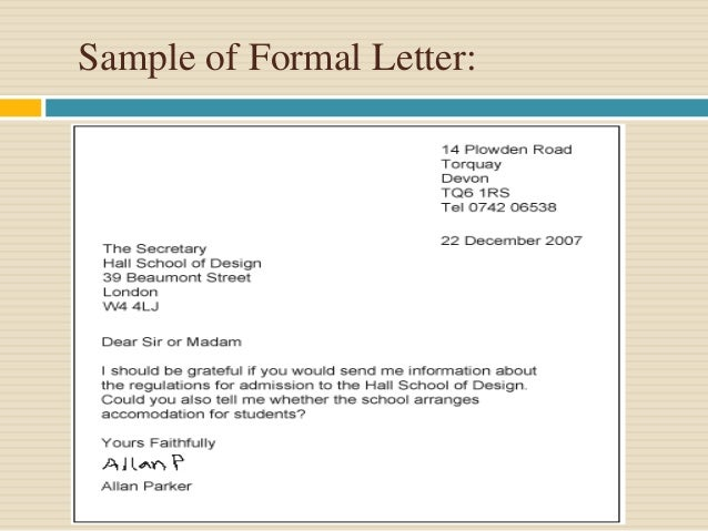 Presentation on formal letter