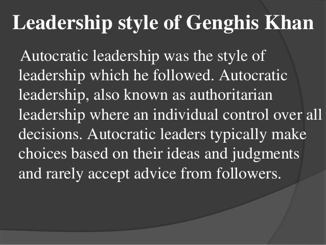 Presentation On Genghis Khan And His Leadership Style