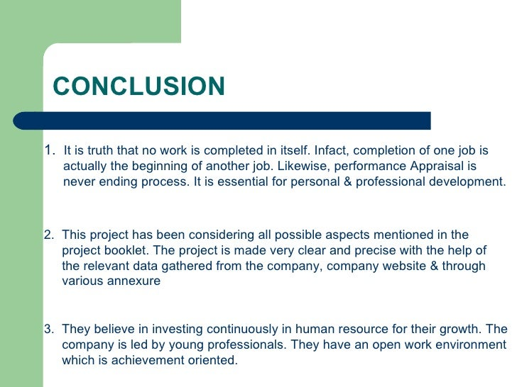 conclusion of performance appraisal