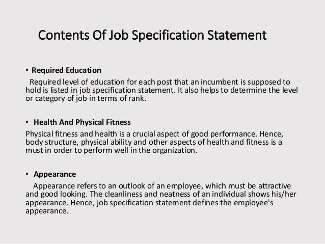 presentation on job specification
