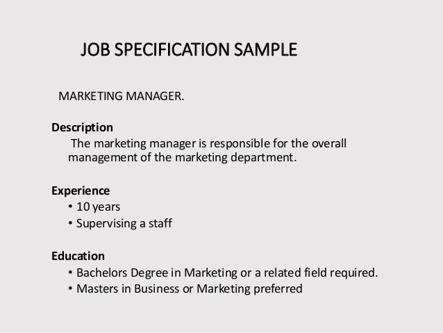 job specifications template - Etame.mibawa.co