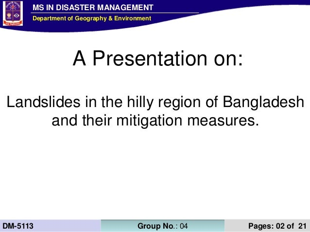 Presentation on landslides in hilly region and mitigation