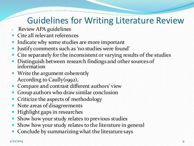 it literature review guidelines