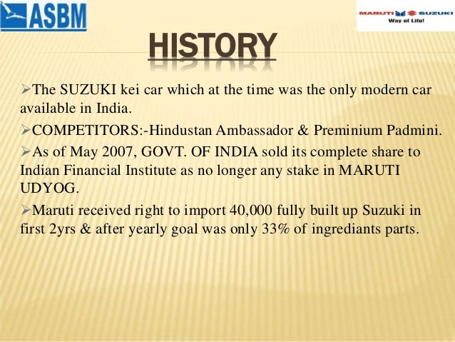 maruti suzuki india ltd swot analysis Maruti suzuki india limited (mrzuy:pinx) company profile, corporate revenues, growth, market size, analysis, business forecasts, market share, metrics, swot maruti suzuki india limited is a majority-owned subsidiary of suzuki motor corporation and one of india's foremost automobile manufacturing companies, accounting for more than half of the.