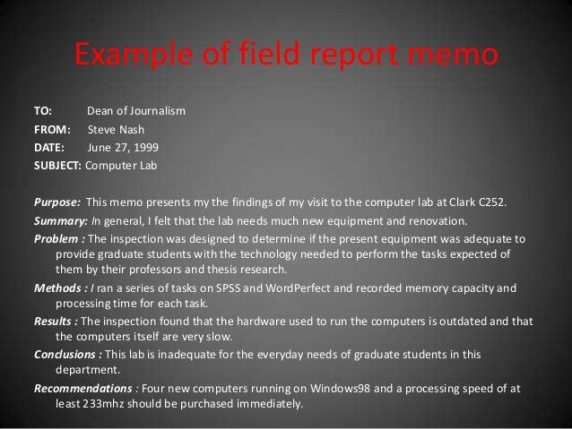 example of field report memo
