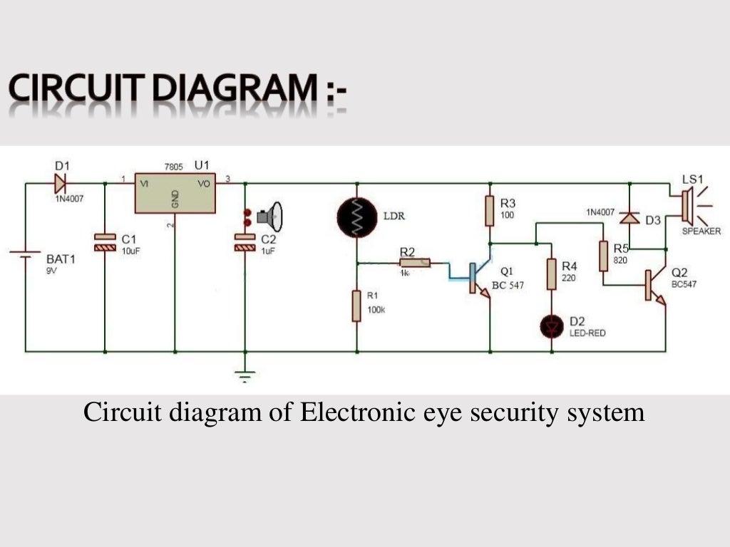 presentation on electronic eye controlled security system rh pt slideshare net electronic eye project circuit diagram circuit diagram electronic eye using ic 555