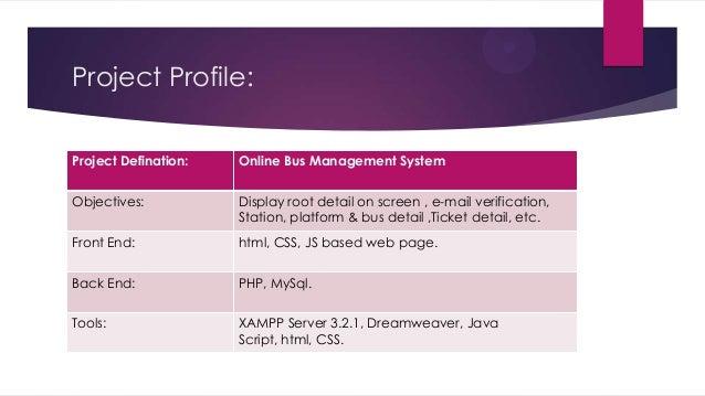 Presentation on online bus management Slide 3