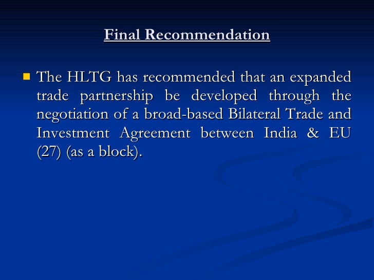 Presentation Report India Eu High Level Trade