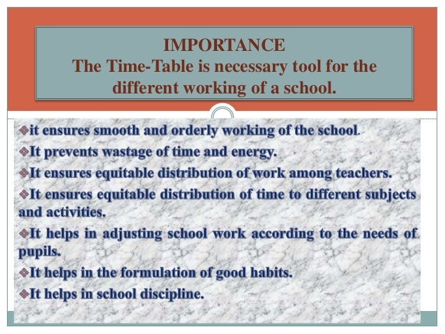 importance of school time table