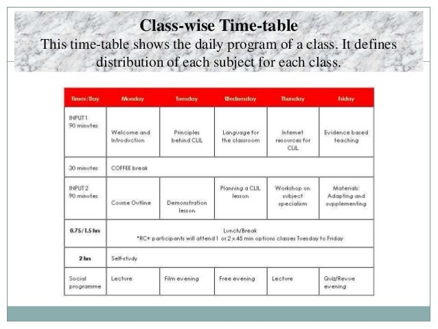 what is school time table
