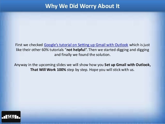 how to setup outlook to work with gmail