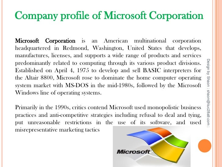 Presentation on strategy of microsoft corporation