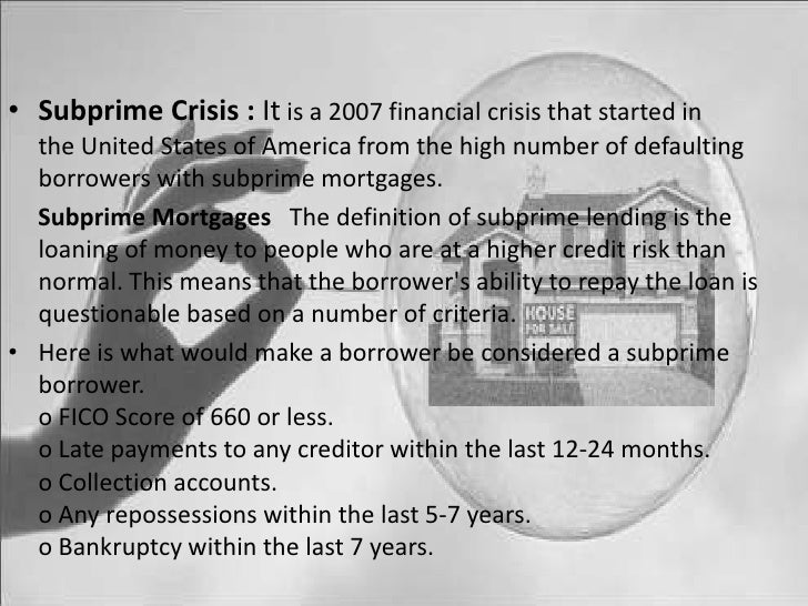 Presentation On Sub Prime Crises