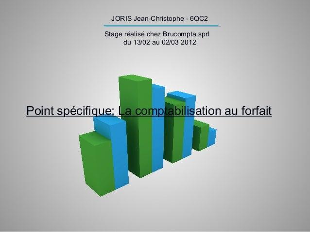 JORIS Jean-Christophe - 6QC2 Stage réalisé chez Brucompta sprl du 13/02 au 02/03 2012 Point spécifique: La comptabilisatio...