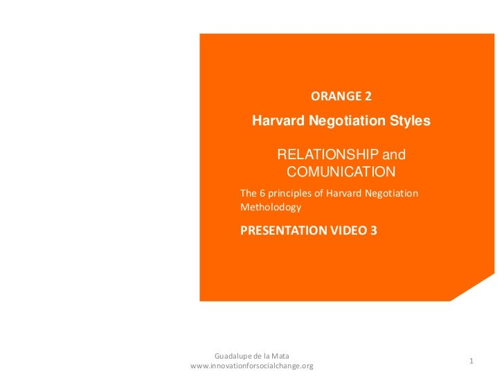 ORANGE 2                Harvard Negotiation Styles                       RELATIONSHIP and                        COMUNICAT...