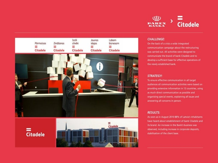 Corporate Communication / Bank Citadele – communication campaign of restructuring and launch of the new brand / Komunikāci...