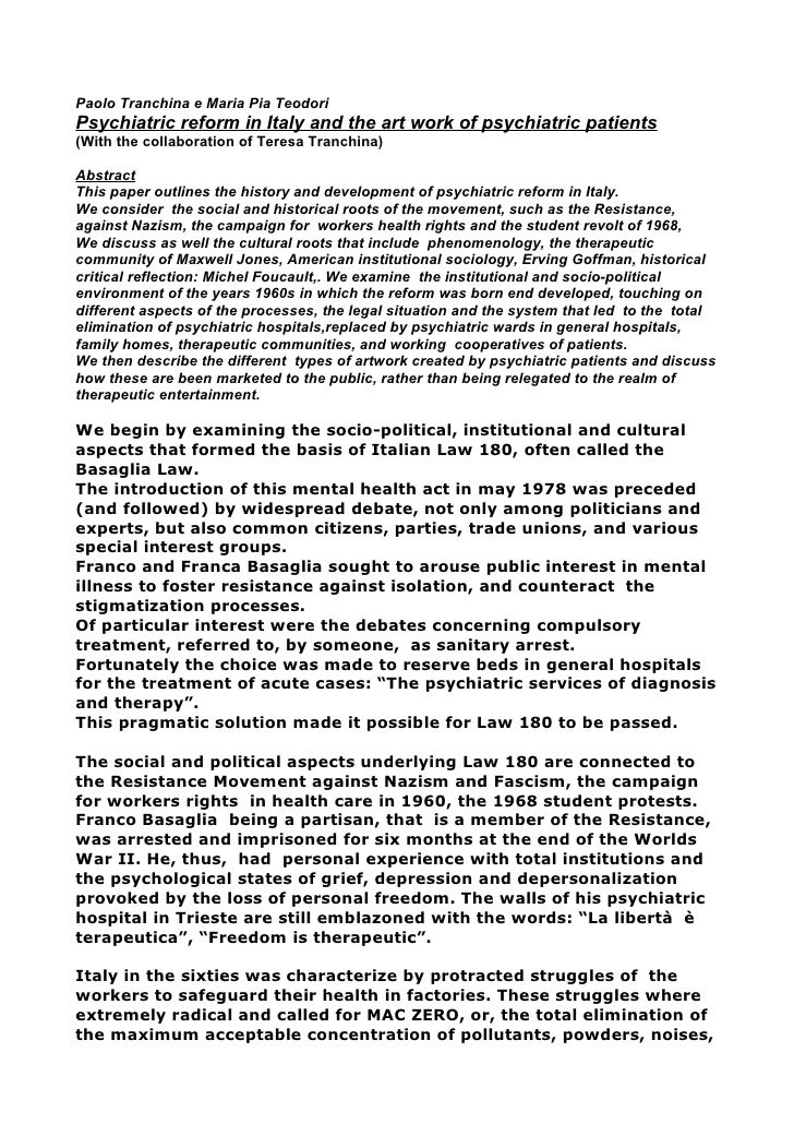 Paolo Tranchina e Maria Pia TeodoriPsychiatric reform in Italy and the art work of psychiatric patients(With the collabora...