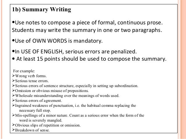 Summary words for essay