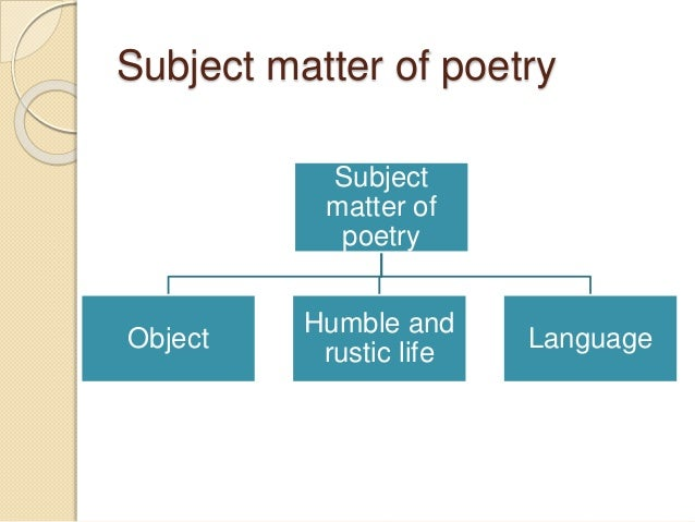 subject matter in the poems essay As much as i was tempted to sell my leaving cert notes, i believe these four poetry essays will be very helpful to students in 2011 the essays have all.