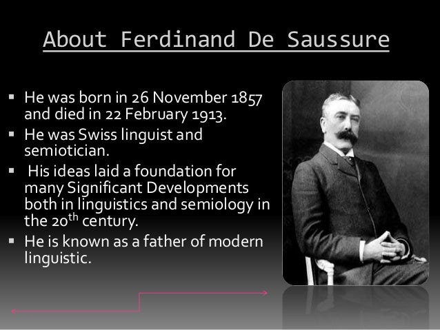 ferdinand de saussure nature of linguistic Ferdinand de saussure-course in general linguistics the arbitrary nature of the sign-the sign is arbitrary because the bond between the signifier and the signified is saussure rejects a theory of language as a naming-process only-a list of words.
