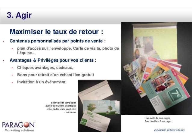 3. Agir Maximiser le taux de retour : •  Contenus personnalisés par points de vente : •  •  plan d'accès sur l'enveloppe, ...