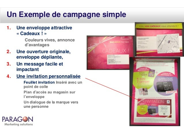 Un Exemple de campagne simple 1.  Une enveloppe attractive « Cadeaux ! » Couleurs vives, annonce d'avantages  2. 3.  4.  U...