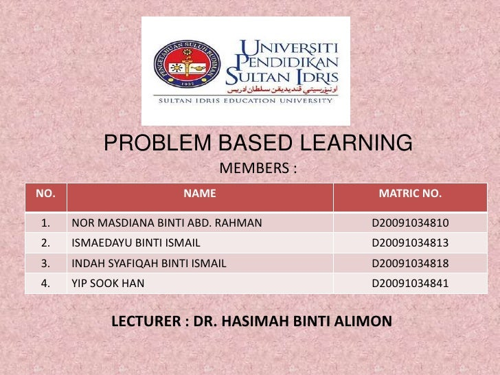 PROBLEM BASED LEARNING<br />MEMBERS :<br />LECTURER : DR. HASIMAH BINTI ALIMON<br />