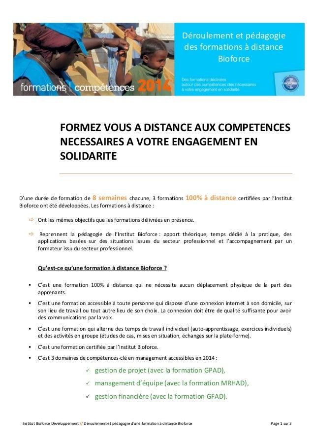Déroulement et pédagogie des formations à distance Bioforce  FORMEZ VOUS A DISTANCE AUX COMPETENCES NECESSAIRES A VOTRE EN...