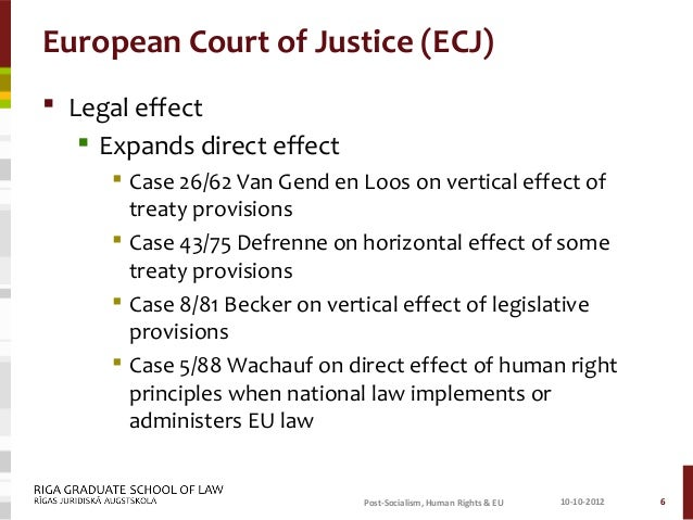 horizontal direct effect Determinants of the doctrine of the direct effect of the european union law  5  3  a national court in vertical (individual – the state) or horizontal (individual.