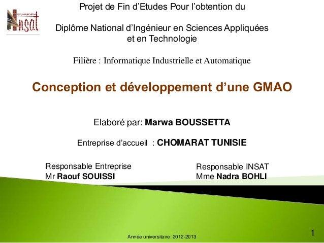 Projet de Fin d'Etudes Pour l'obtention du   Diplôme National d'Ingénieur en Sciences Appliquées                    et en ...