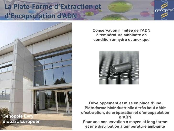 La Plate-Forme d'Extraction etd'Encapsulation d'ADN                             Conservation illimitée de l'ADN           ...