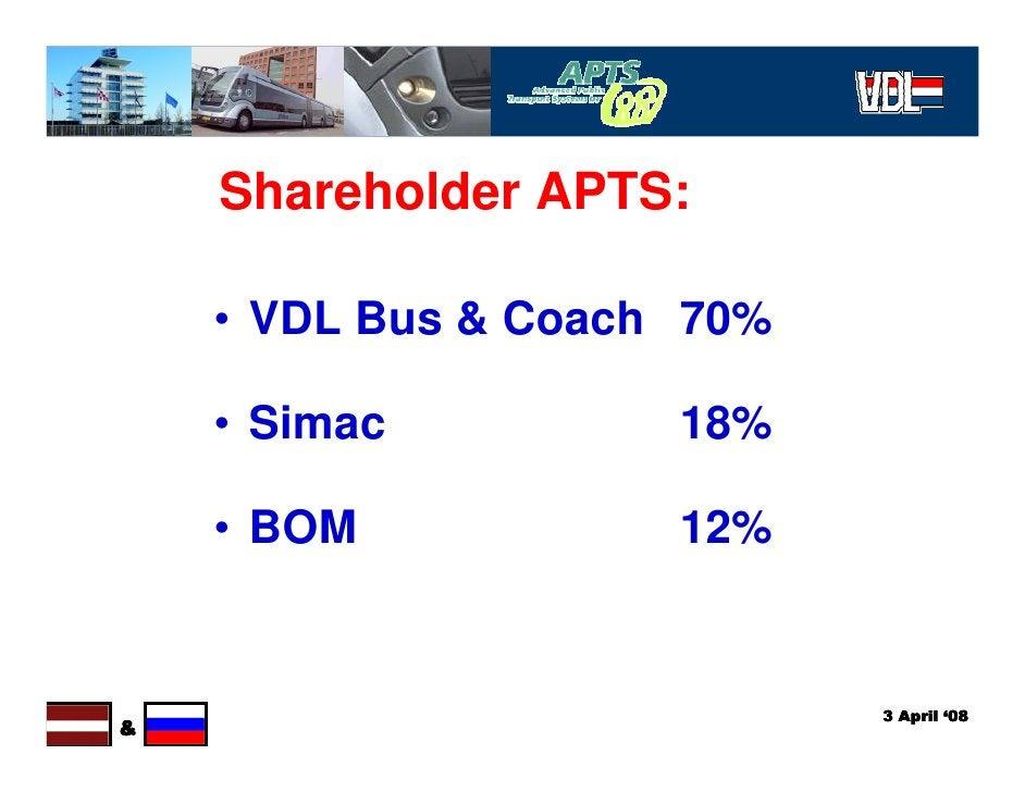 Shareholder APTS:      • VDL Bus & Coach 70%      • Simac          18%      • BOM            12%                          ...