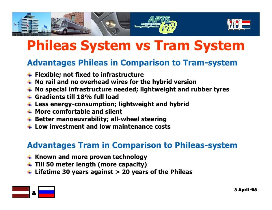 Phileas System vs Tram System Advantages Phileas in Comparison to Tram-system  Flexible; not fixed to infrastructure  No r...