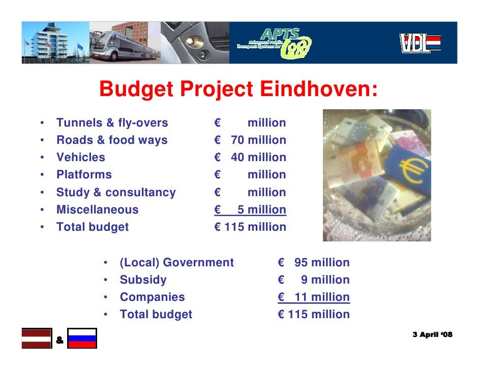 Budget Project Eindhoven: •   Tunnels & fly-overs      €     million •   Roads & food ways        € 70 million •   Vehicle...